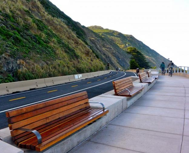 Benches and interpretive signs now stand on the repurposed two-lane road where drivers once white-knuckled their way between Half Moon Bay and San Francisco. Kelsey Farabee photo.