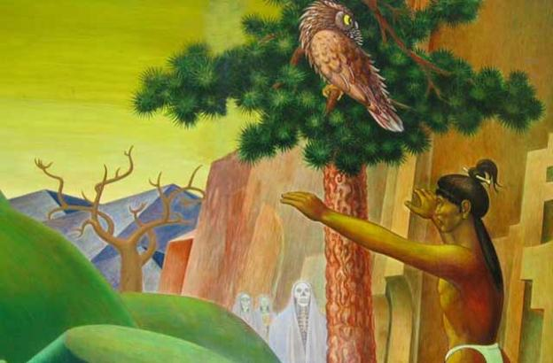 """Detail from """"The Legend of New Almaden"""" by Clay Spohn."""