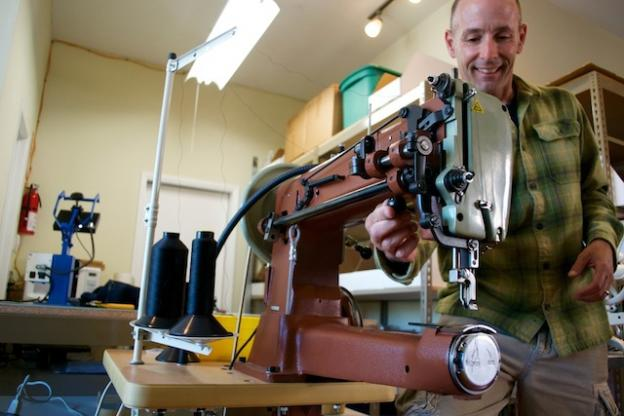 Peter Julber of Santa Cruz Gear Repair readies 'The Beast' for action. Julber's shop mends tents, sleeping bags, backpacks, even leather jackets.