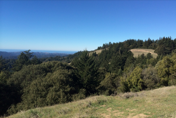 The stunning view of the Santa Cruz Mountains all the way down to the Pacific Ocean from Long Ridge Road.