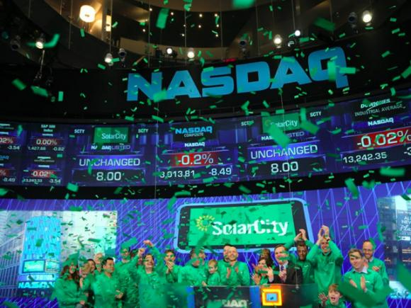 SolarCity, which went public in 2012, is the largest and fastest-growing solar company in the world. Photo courtesy NASDAQ.