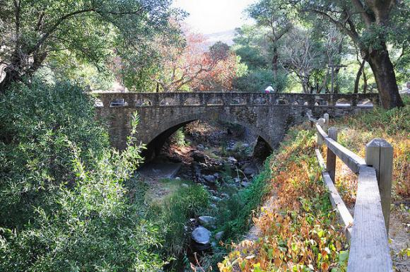 A 140-plus-year-old stone bridge crosses Penitencia Creek in Alum Rock Park. Photo by Raul A./CC