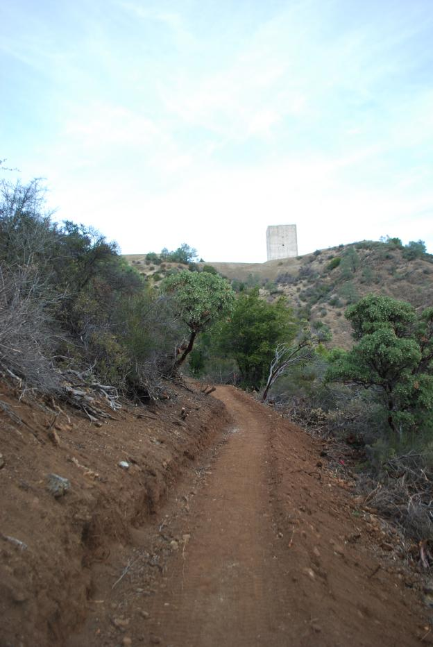 View of the radar tower from the Mt. Umunhum trail. Photo courtesy Midpeninsula Regional Open Space District.