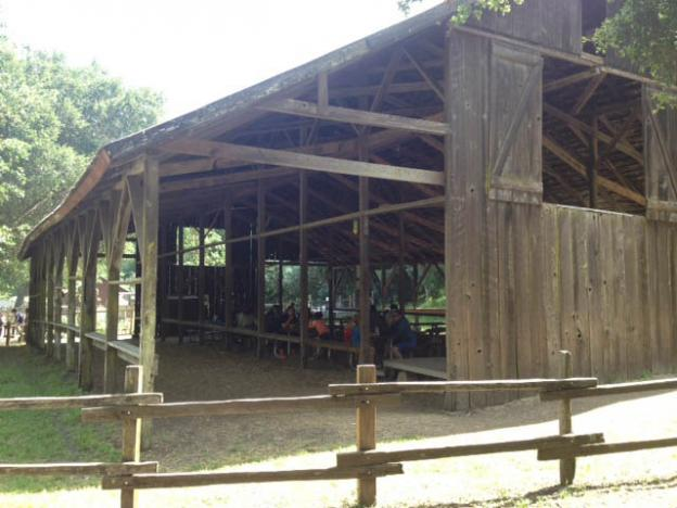 The Deer Hollow Farm haybarn is a popular place for a shady break or lunch. Eric Johnson photo.