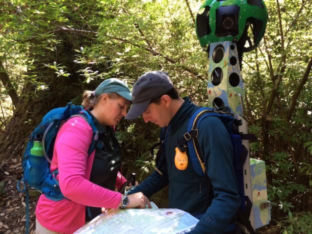 Amanda Krauss and Paul Davis study a Big Basin map before hitting the trail with Trekker. Hilltromper photo.
