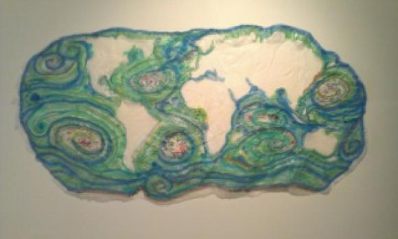 """""""5 Gyres,"""" a piece that almost made the show. Photo and art by Heidi Cramer."""