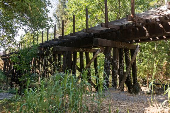 """Willow Glen Trestle 2013. The site has since lost greenery seen in this picture. Photo by Don DeBold / <a href=""""https://creativecommons.org/licences/by/2.0/legalcode"""" target=""""_blank"""">CC</a>"""
