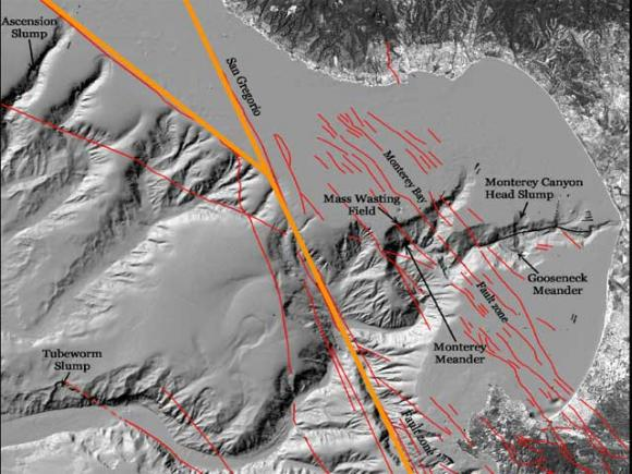 A map of offshore fault lines across Monterey Bay reveals where future earthquakes might happen. Courtesy Gary Greene/Moss Landing Marine Laboratories.